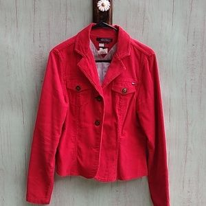 Tommy Hilfinger red corduroy jacket sz L